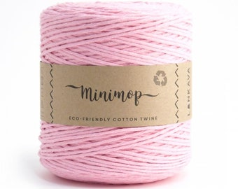 Minimop - Pink 80/20 Recycled Cotton & Polyester Twisted Cord Twine Yarn by Lankava