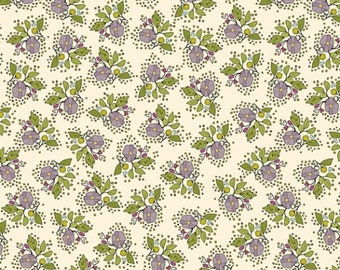 SALE Bubbies Buttons and Blooms by Kori Turner Goodhart - Petite Bouquet - Oyster Stew - 52086-1 - FQ Half Yard - Cotton Quilt Fabric K