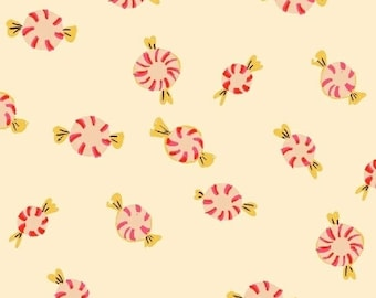 Sugarplum by Heather Ross for Windham Fabrics - Peppermints - Cream - 50167-2 - 1/2 Yard Cotton Quilt Fabric