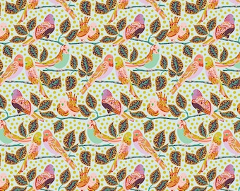 Earth Made Paradise by Kathy Doughty Free Spirit Fabrics - Budgie Babies MO047.PASTEL- Cotton Quilt Fabric - Fat Quarter FQ BTHY Yard K