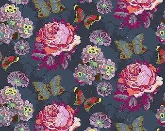 Love Always by Anna Maria Horner for Free Spirit - Clippings - Charcoal - PWAH038 - Select a Size - Cotton Quilt Fabric