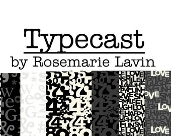 Typecast by Rosemarie Lavin Windham Fabrics Black and White Text Collection Bundle - Cotton Quilt Fabric
