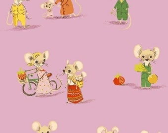 OOP Trixie by Heather Ross Windham Fabrics - 50897-5 - Country Mouse City Mouse - Light Purple - Cotton Quilt Fabric FQ BTHY Yard 921