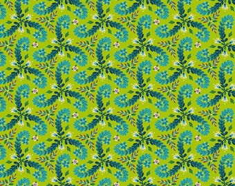 Fronds - MagiCountry by Odile Bailloeul for Free Spirit - Green PWOB056 - FQ Fat Quarter BTHY Yard - Cotton Quilt Fabric 1021