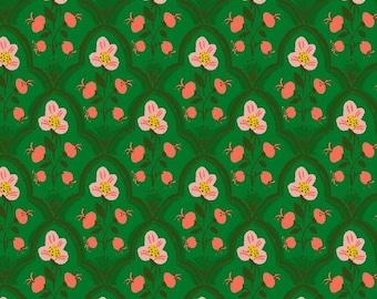 Malibu by Heather Ross for Windham - Wood Block - Dark Green - 52151-19 - Cotton Quilt Fabric - FQ BTHY Yard 921
