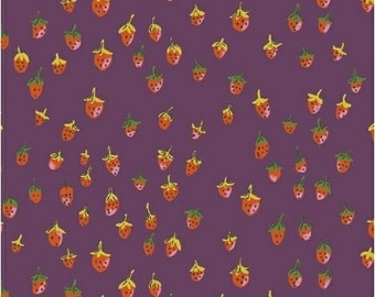 OOP Trixie by Heather Ross Windham Fabrics - 50899-11 - Field Strawberries - Plum - Cotton Quilt Fabric - FQ BTHY Yard 921