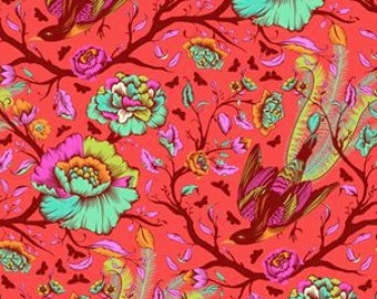 All Stars by Tula Pink for Free Spirit - Tail Feathers - Poppy - Cotton Quilt Fabric - BTHY Yard 8-21B