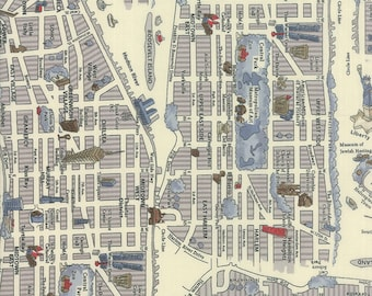 Passport by Moda - New York City Map - Cloudy White - 33010 19  100% Cotton Quilt Fabric - BTHY Yard 921
