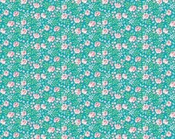 Adelaide Grove by Dena Designs - Canberra Rose - Aqua DF310 - FQ -half yard -full yard- FreeSpirit Cotton Quilt Fabric K