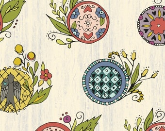 Bubbies Buttons and Blooms by Kori Turner Goodhart - Bubbie's Button Wreath - Oyster Stew - 52090-1 - FQ Half Yard - Cotton Quilt Fabric K