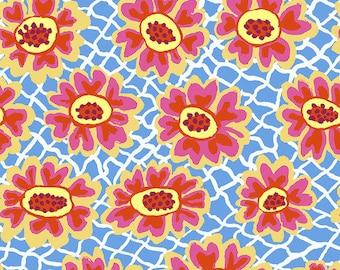 Kaffe Fassett Collective - Brandon Mably - August 2021 - Flower Net - Blue - PWBM081.BLUE - Select a Size - 100% Cotton Quilt Fabric