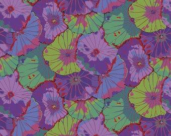"Lotus Leaf Purple Wide Back - Kaffe Fassett Free Spirit - GP007 - 1/2 Yard - 108"" Cotton Quilt Back Fabric - Sateen - Silky finish 8-21"