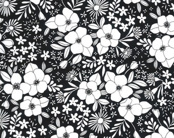 Illustrations by Alli K Design for Moda - Wild Florals - Ink Black - 11503 15 - 100% Cotton Quilt Fabric - Choose your Size