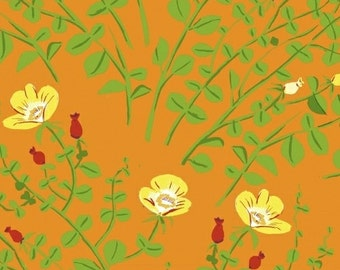OOP Heather Ross Briar Rose for Windham Fabrics - 37023-3 Orange Nanny Bee Orange - 1/2 yard cotton quilt fabric 921