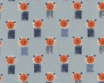 Sunshine by Alexia Abegg for Cotton & Steel - Lions - Blue - 1/2 Yard Cotton Quilt Fabric