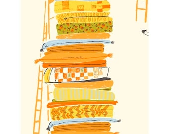 Heather Ross 20th Anniversary Reprint Windham Fabrics - 39658A-6 Yellow Princess and the Pea - Cotton Quilt Fabric FQ BTHY Yard 921