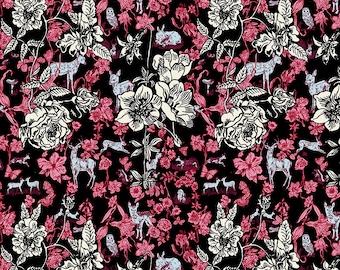 SALE Woodland Walk Nathalie Lete Anna Maria Conservatory Fawn in Flower - Black -FQ BTHY Yard - FreeSpirit Cotton Quilt Fabric 9-21