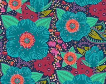 """Hindsight by Anna Maria Horner Free Spirit Fabrics - Honorable Mention - Turquoise - by the yard - 108"""" Cotton Quilt Back"""