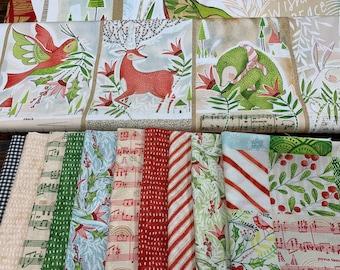 Holly Jolly by Cori Dantini Freespirit - Christmas Holiday Fabrics 100% Cotton Quilt Fabric FQ Fat Quarter Bundle Kit