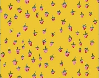 OOP Trixie by Heather Ross Windham Fabrics - 50899-12 - Field Strawberries - Gold - Cotton Quilt Fabric - FQ BTHY Yard 921