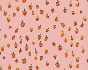 OOP Trixie by Heather Ross for Windham Fabrics - 50899-9 - Field Strawberries - Pink - Cotton Quilt Fabric - FQ BTHY Yard 921