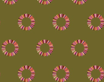 Tula Pink Acacia - Olive Sunset Pineapple Rings - FQ Fat Quarter cotton quilt fabric 8-21
