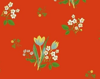 OOP Pre-Cut Kinder by Heather Ross for Windham Fabrics - Spring Blooms - Red - 3/4 Yard Cotton Quilt Fabric