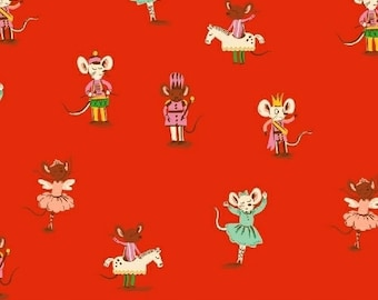Sugarplum by Heather Ross for Windham Fabrics - Nutcracker Mice - Sweet Dreams - Red - 50166-4 - 1/2 Yard FLANNEL Quilt Fabric 921