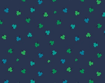 SALE Solstice by Sally Kelly - Navy Blue Clover  - 51935 2 - Select a Size- FQ - half or full yard- Windham Cotton Quilt Fabric K