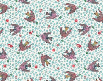 Woodland Walk Nathalie Lete Anna Maria Conservatory The Swallows - Rose -FQ BTHY Yard FreeSpirit Cotton Quilt Fabric 9-21