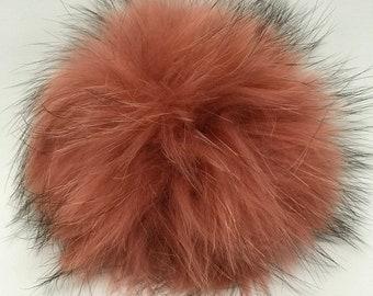 Snap on Raccoon XL Pom Pom 15 cm - Blush Pink