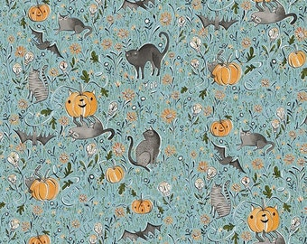 Spirit of Halloween by Cori Dantini for Free Spirit - In the Patch - Blue - PWCD003.XBLUE - 100% Cotton Quilt Fabric - FQ BTHY Yard 921
