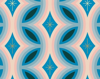 Clementine by Melody Miller of Ruby Star Society for Moda - Rattan - Bright Blue - Metallic - Select a Size - Cotton Quilt Fabric