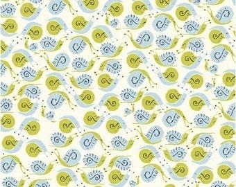 OOP Heather Ross Far Far Away Reprint Windham Fabrics - 39660-3 Green and Lt Blue Snails- FQ BTHY Yard cotton quilt fabric 921