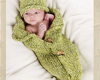 Peanut & Peadod Baby Wrap Cocoon by Heirloom Stitches - Knit Pattern - PDF Download