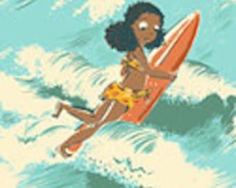 Malibu by Heather Ross for Windham - Sayulita Aquamarine Cotton Linen Canvas - 52145LC-2 - BTHY Half Yard