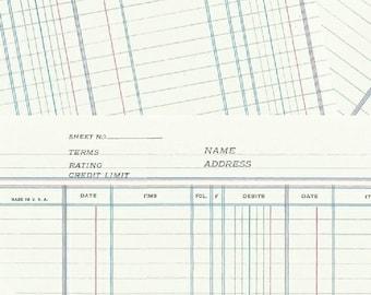 Jot By Heather Givens Crimson Tate Ledger Paper 50456-4 - 100% Cotton Quilt Fabric - FQ Fat Quarter BTHY Yard 1021