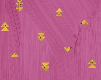 Wish by Carrie Bloomston for Windham Fabrics - Floating Triangles - Hot Pink - 51744M-6 - Cotton Quilt Fabric FQ BTHY Yard 8-21