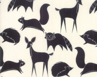 SALE Bramble by Gingiber for Moda - Forest Friends - Cream - Black - 100% Cotton Quilt Fabric