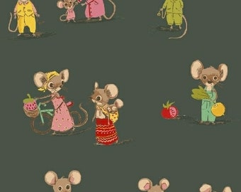 OOP Trixie by Heather Ross Windham Fabrics - 50897-3 - Country Mouse City Mouse - Dark Green - Cotton Quilt Fabric -FQ BTHY Yard 921
