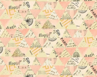 Wish by Carrie Bloomston for Windham Fabrics - Collaged Triangles - Millennial Pink - 51743M-4 - Cotton Quilt Fabric FQ BTHY Yard 8-21
