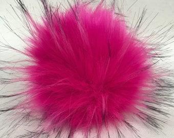 Snap on Faux Raccoon Pom Pom 13-15 cm - Fuchsia Pink