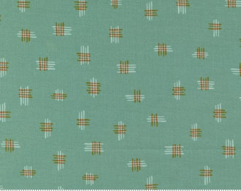 Songbook by Fancy That Design House  - Deep Waters Green Thatched - 45526 17 - Cotton Quilt Fabric - Fat Quarter fq BTHY By the half yard