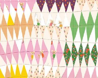 OOP Trixie by Heather Ross Windham Fabrics - 50896-2 - Trixie Collage - Blush - Cotton Quilt Fabric - FQ BTHY Yard 921