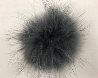 Snap on Raccoon XL Pom Pom 15 cm - Grey Charcoal