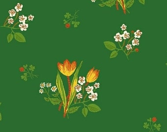 OOP Kinder by Heather Ross for Windham Fabrics - Spring Blooms - 43482-6 Green - FQ BTHY Yard Cotton Quilt Fabric 921