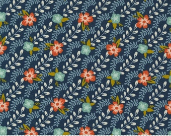 Songbook by Fancy That Design House  - Midnight Blue Flower Buds - 45524 15 - Cotton Quilt Fabric - Fat Quarter fq BTHY By the half yard