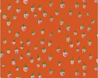 OOP Trixie by Heather Ross Windham Fabrics - 50899-10 - Field Strawberries - Orange-Red - Cotton Quilt Fabric - FQ BTHY Yard 921