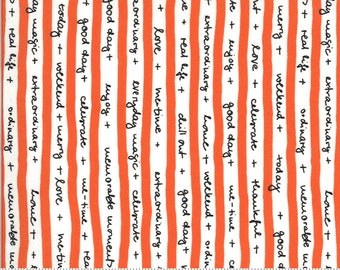 SALE Quotation by Zen Chic - Text Stripe Tape Clementine 1732 15 Select a Size - FQ, half or full yard- Moda Cotton Quilt Fabric K