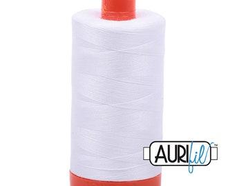 Aurifil White Cotton Mako Thread - 50wt - 1300m - MK50 2024